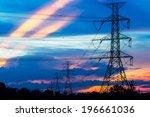 electricity pillars against...   Shutterstock . vector #196661036