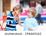 happy sibling boys  two kids... | Shutterstock . vector #196664162