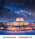 Architecture in Poland at night. Milky way over Opera Nova in Bydgoszcz, Poland, Europe.