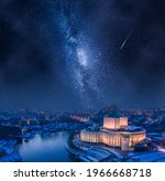 Milky way over Opera Nova in Bydgoszcz at winter, Poland, Europe. Architecture in Poland at night.