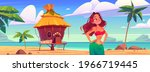 young woman on beach with hut... | Shutterstock .eps vector #1966719445