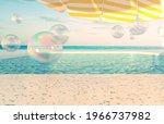 summer beach scene background... | Shutterstock . vector #1966737982