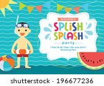 birthday card summer fun splash ... | Shutterstock .eps vector #196677236