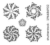 vector set of floral round... | Shutterstock .eps vector #196686932