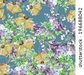poppies and summer purple ... | Shutterstock . vector #196688042