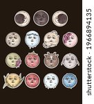 Set Of 12 Full Moons And Moon...