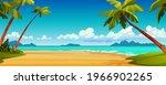 cartoon summer beach  ocean or... | Shutterstock .eps vector #1966902265