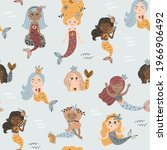 seamless pattern with mermaids. ... | Shutterstock .eps vector #1966906492