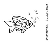 cartoon sea fish outlined for... | Shutterstock .eps vector #1966935535