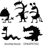 a set of cartoon silhouettes of ... | Shutterstock .eps vector #196694762
