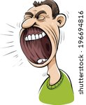 a cartoon mouth with a huge ... | Shutterstock .eps vector #196694816