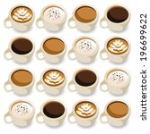 coffee set brown cup | Shutterstock .eps vector #196699622