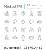 medical ppe linear icons set.... | Shutterstock .eps vector #1967014462