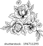 drawings lines of beautiful... | Shutterstock .eps vector #196711295