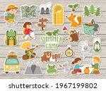 vector summer camp stickers set....   Shutterstock .eps vector #1967199802