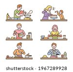 people are cooking different... | Shutterstock .eps vector #1967289928