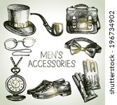 sketch gentlemen accessories.... | Shutterstock .eps vector #196734902