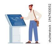 male character using info kiosk ...   Shutterstock .eps vector #1967433052