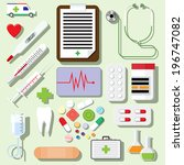 vector set of medical icons... | Shutterstock .eps vector #196747082