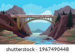 railroad bridge with train over ... | Shutterstock .eps vector #1967490448