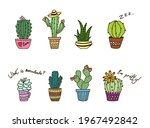 colored cactus in pot. colorful ... | Shutterstock .eps vector #1967492842