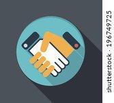 flat icon. handshake | Shutterstock .eps vector #196749725