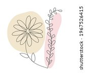 Flower In Line Art Style On A...
