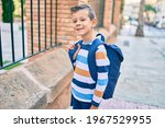 Adorable Caucasian Student Boy...