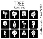 vector set of tree square icons.... | Shutterstock .eps vector #196777982