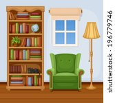 Room Interior With Bookcase An...