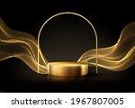 minimal black scene with golden ... | Shutterstock .eps vector #1967807005
