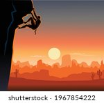 climbing on steep rock wall  | Shutterstock .eps vector #1967854222