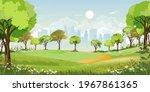 spring landscape at city park... | Shutterstock .eps vector #1967861365