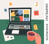 workplace  working desk. hand...   Shutterstock .eps vector #1967868985