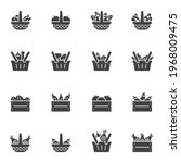 food basket vector icons set ... | Shutterstock .eps vector #1968009475