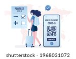 tourist woman with negative pcr ...   Shutterstock .eps vector #1968031072