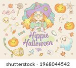 happy hippie halloween cute set ... | Shutterstock .eps vector #1968044542