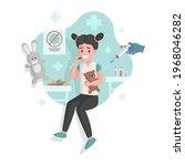 vaccination of cute little girl ... | Shutterstock .eps vector #1968046282