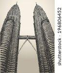 May 29, 2014: Petronas towers in Kuala Lumpur, Malaysia. Hand drawn sketch. Vector illustration. - stock vector