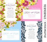 set of invitations with floral... | Shutterstock .eps vector #196806836