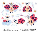 Cute Cartoon Ladybug Vector Set....