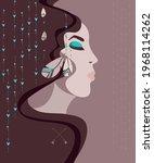 profile of female face of... | Shutterstock .eps vector #1968114262