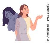 girl pretends that she is fine  ...   Shutterstock .eps vector #1968128068