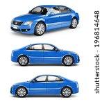 3d blue sedan car | Shutterstock . vector #196814648