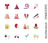 party icons and celebration... | Shutterstock .eps vector #196815392