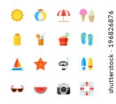 summer and beach icons   flat... | Shutterstock .eps vector #196826876