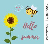 a cute bee flies to the... | Shutterstock .eps vector #1968289552