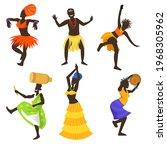 set of african people dancing... | Shutterstock .eps vector #1968305962
