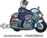 police officer riding on police ... | Shutterstock .eps vector #1968308602