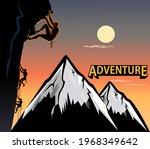 climbing on steep rock wall  | Shutterstock . vector #1968349642
